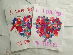 """I love you to pieces"" Valentines Day craft. Link has many other Valentine's Day craft ideas as well. Daycare Crafts, Classroom Crafts, Toddler Crafts, Preschool Crafts, Crafts For Kids, Kinder Valentines, Valentines Day Activities, Valentines Day Party, Valentine Day Crafts"