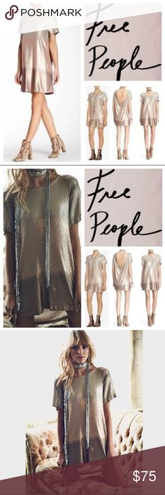"COMING SOON Free People Drenched in Sequin Dress New with tag $168.00 FREE PEOPLE Drenched in Sequins Rose Gold Ombré Dress Size S  Defect: This was a store display item. No holes or stains, upon up close inspection some sequins are missing. Tag still attached.  Dazzling, two-tone sequins glamorously catch the light at every turn in a glitzy, party-ready dress styled with an elegantly draped back.  Approximate 32"" length. Slips on over head. Bateau neck. Cap sleeves. 62% polyester, 35%…"