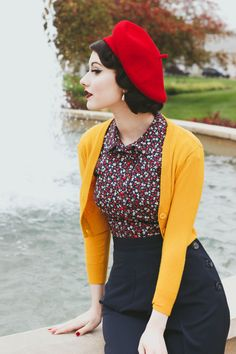 Looking for a stylish goldenrod sweater to add a dollop of darling to your wardrobe? This cropped cardigan is truly best in class, thanks to its cozy knit -. 40s Mode, Retro Mode, Mode Rockabilly, Rockabilly Fashion, Vintage Inspired Fashion, 1940s Fashion, Modern 50s Fashion, Retro Vintage Fashion, Pin Up Fashion