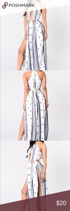 Fashion Nova Dope In Rope Dress SIZE MEDIUM WORN ONCE! PRICE NEGOTIABLE! 💕  Available in Ivory/Navy Maxi Dress Rope Neck Detail Rope Cutout Waist 100% Rayon Fashion Nova Dresses Maxi