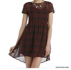 SEVENTEEN NWT $42 Hi Low DRESS Juniors L Red Black PLAID Sheer Zip Back Punk NEW #Seventeen #HiLowDress #Casual