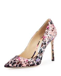 X3DVD Jimmy Choo Romy Floral Pointed-Toe 100mm Pump, Dahlia/Brown