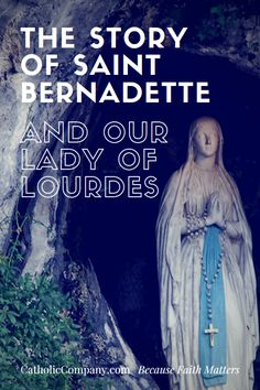 """""""I raised my head and looked towards the grotto. I saw a Lady dressed in white, wearing a white dress, a blue girdle and a yellow rose on each foot, the same color as the chain of her Rosary."""" - St. Bernadette"""