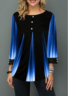 Women's Button Up Blue And Black Ombre Casual Tunic Top Button Detail Printed Gradient Round Neck T Shirt Trendy Tops For Women, Stylish Tops, Vetement Fashion, Yellow Fashion, Printed Blouse, Half Sleeves, Womens Fashion, Ladies Fashion, Emo Fashion