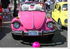 "This ""Pretty in Pink"" 1976 VW Superbeetle Convertible was on display at the ""Super Run Car Show"" in Henderson Nevada. The owner is Monica Lucches"