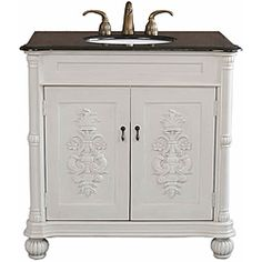 @Overstock - This beautiful hand-carved single bathroom sink vanity is decorated with a hand-painted medallion design on door panels that accentuate the tradition flavor. This vanity has a careful finish with a multi-layer of top coat to ensure water proof.http://www.overstock.com/Home-Garden/Grande-Antique-White-Bathroom-Vanity/6246572/product.html?CID=214117 $937.82