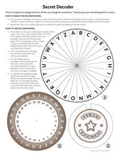 for the escape room Printable Secret Decoder Wheel Escape Room Diy, Escape Room For Kids, Escape Room Puzzles, Escape Room Themes, Escape Puzzle, Geocaching, Spy Birthday Parties, Spy Party, Party Games