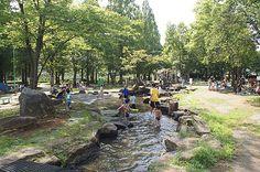 Babbling brook, splash pool, waterfall, shade Osaki park 周囲は大きな木々があり日陰も多くあります