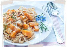 Butternut Kürbis Pasta Soße, schnell und einfach mit wenigen Zutaten