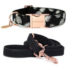 The PINEAPPLE dog collar and leash set - handmade for your pup with rose gold colored hardware! Shop worldwide on www.prunkhund.com #DogAccesories