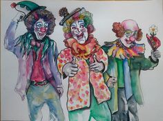 3-clowns.jpg (Painting) by Agnes Mclaughlin