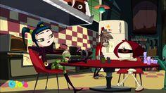 Victoria, Larry e Cleo - desenho Larry e os Sinistros exibido pelo canal Gloob