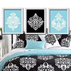 aqua black white damask ornamental design artwork set of 3 trio prints wall decor abstract art - Damask Bedroom Ideas