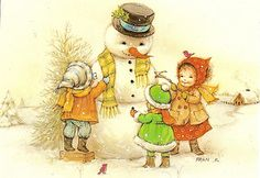 Children and snowman | par Paicil