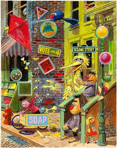 Sesame Street paintings by Jack Davis
