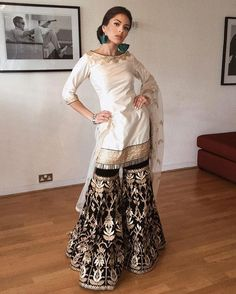 Image may contain: 1 person, standing, shoes and indoor Party Wear Indian Dresses, Designer Party Wear Dresses, Pakistani Wedding Outfits, Indian Gowns, Indian Attire, Indian Outfits, Indian Wedding Wear, Indian Lehenga, Pakistani Dresses