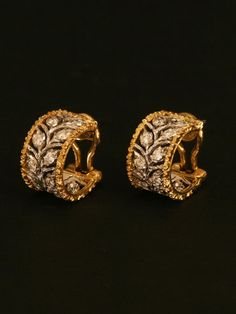 Buccellati 18k Diamond Leaf Hoop Earrings at London Jewelers!