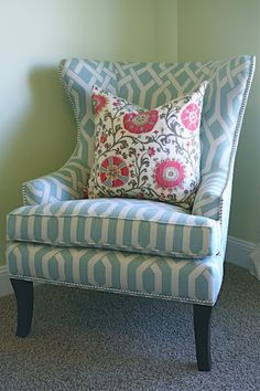 Great fabric! See old chairs like this all the time...I guess I need to redo my own now!