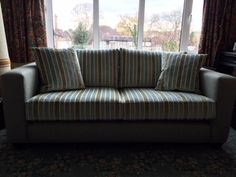 Mapperley sofa 185 cm x 91 cm with 2 base & back cushions covered in J Brown McKenzie 26 willow (plain) & Swaffer Beech 04 (stripe).