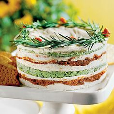 Layered Sun-dried-Tomato-and-Basil Spread - Easy Holiday Party Dips & Spreads - Southern Living
