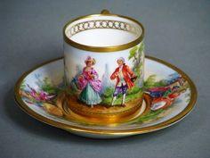 Fraureuth Ansichten Tasse Mit Untertasse Lupenmalerei Cup and Saucer UM 1917