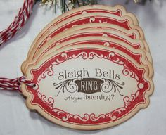Sleigh Bells Christmas Gift Tags by TorisCustomCreations on Etsy, $5.95