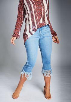 a474237bb21 Fringed Hem Jeans by Denim 24 7
