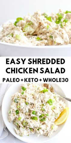 Easy Shredded Chicken Salad - The Bettered Blondie Easy shredded chicken salad is perfect for your weekly meal prep. It is a delicious and healthy low carb option that does not disappoint! Shredded Chicken Salads, Keto Chicken Salad, Healthy Shredded Chicken Recipes, Low Calorie Chicken Salad, Costco Chicken Salad, Keto Egg Salad, Rotisserie Chicken, Grilled Chicken, Healthy Low Carb Recipes