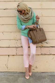Pastel pink skinny jeans, sea foam sweater, chambray shirt, nude pumps, tan accessories