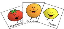 """A great 9 week fruit of the Spirit lesson for pre-schoolers...would be a great idea for the summer. Complete with cute craft ideas for each """"fruit."""""""