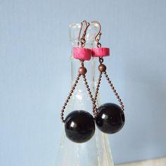 Black & pink earrings