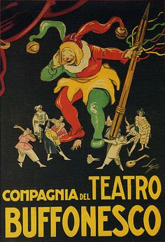 Italy Compagnia Teatro Buffonesco Clownish Theater Clowns Vintage Poster Repro