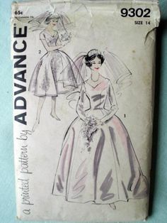 Vintage Early 1960 Advance Wedding Bridal Gown Dress Sewing Pattern Mad Men Chic | eBay