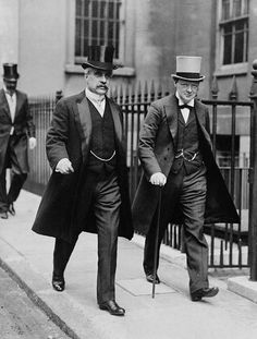 Canada's PM the Rt. Honourable Robert Borden and Honourable Winston Churchill leaving the Admiralty