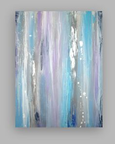 Original Gray and Blue Acrylic Abstract Painting Titled: Silver Lining by Ora Birenbaum.