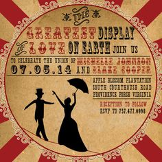 Vintage Circus Wedding Invitation by AuroraGraphicStudio on Etsy
