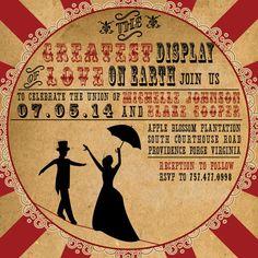 Vintage Circus Wedding Invitation by AuroraGraphicStudio on Etsy