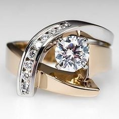 UNIQUE ENGAGEMENT RING W/ GIA DIAMOND 14K w/y gold absolutely perfect*********Michael ....THIS ONE!