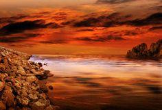 pôr do sol de oceanos em laranja
