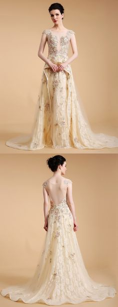 Champagne with embroidery long train formal dress