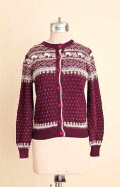Vintage Angora Wool Purple Wine Winter Nordic Print Sweater // Size Medium - pinned by pin4etsy.com