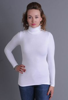 Three Dots Women's Long Sleeve Turtleneck Tee, White, Small for sale Turtleneck Shirt, Ribbed Turtleneck, Long Sleeve Turtleneck, Three Dots, Tee Shirts, Tees, Basic Style, Turtle Neck, Clothes For Women
