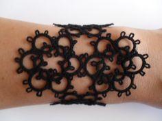 Tatted - Frivolite Black Bracelet - Lace Tatting Jewelry - Rocker Bracelet by carmentatting on Etsy