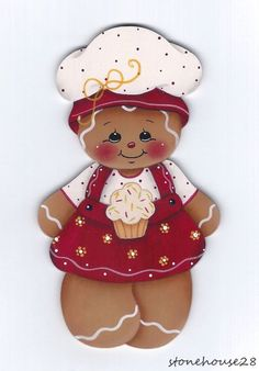 HP Hand Painted Gingerbread Girl & Cupcake~~Fridge Magnet, high by 4 wide, hand painted by me on thick wood with a magnet on back. Gingerbread Christmas Decor, Gingerbread Ornaments, Gingerbread Decorations, Christmas Wood, Gingerbread Man, Christmas Decorations, Decoupage Vintage, Christmas Crafts, Christmas Ornaments