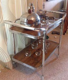 Vintage Mid Century Aluminum Rolling Bar Cart by AllensAttic