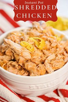 Juicy Pressure Cooker Shredded Chicken - BBQ chicken ready in a snap using the Instant Pot, slow cooker or oven. Perfectly seasoned and great for sandwiches, tacos, quesadillas or salads. It freezes great too! Use chicken thighs for flavor or breast meat if that's your favorite cut. It's easy, tender, juicy and delicious! #shreddedchicken #instantpot #pressurecooker #bowlmeover #mealprep Shredded Chicken Recipes, Chicken Thigh Recipes, Best Pressure Cooker, Slow Cooker, Family Recipes, Family Meals, Good Food, Yummy Food, How To Make Pizza