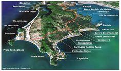 Vista de praias de North Island Google Earth de Florianópolis: Canasvierias, Cachoeira, Lagoinha, Praia Brava, Ingleses, Santinho, Jurerê, Daniela - Floripa Ilha de Santa Catarina Brasil