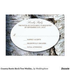 Country Rustic Birch Tree Wedding RSVP Card