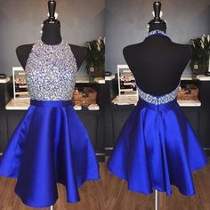 halter homecoming dress,beaded prom gowns,short prom dress,royal blue homecoming dress,graduation dress
