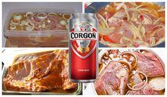 Dobre vychladené pivko ku grilvoačke už tak akosi patrí. Pivo však môže poslúžiť aj na prípravu vynikajúcej marinády na mäso aryby. Vyskúšajte 5 najlepších marinád zpiva, ktoré premenia rodinnú grilovačku na skutočný zážitok nielen pre pivárov! Marináda na grilovanie pečenie aj minútovkú úpravu Potrebujeme: 1 kg bravčového mäsa nakrájaného na plátky 1 cibuľu 7 strúčikov... Barbecue Grill, Grilling, Sausage, Food, Basket, Lemon, Turmeric, Crickets, Sausages